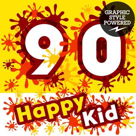 0 9: Vector set of funny children splash alphabet. Numbers 9 0