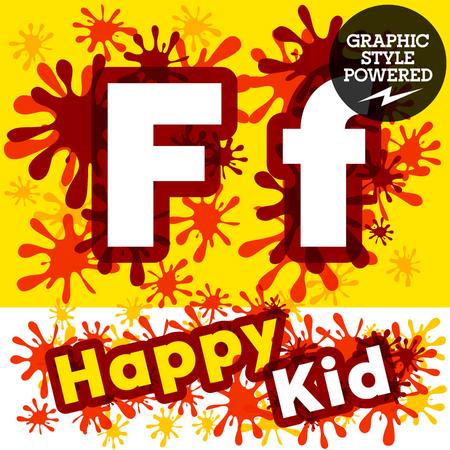 motley: Vector set of funny children splash alphabet. Letter F Illustration