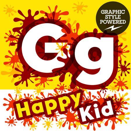 impulsive: Vector set of funny children splash alphabet. Letter G