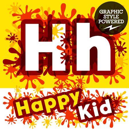 Vector verzameling van grappige kinderen spetteren alfabet. letter H