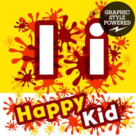 impulsive: Vector set of funny children splash alphabet. Letter I