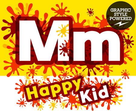 impulsive: Vector set of funny children splash alphabet. Letter M