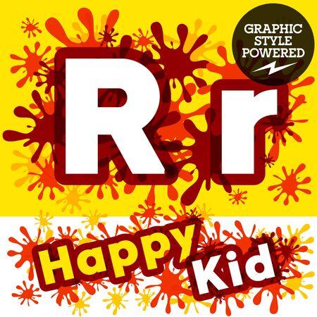 impulsive: Vector set of funny children splash alphabet. Letter R