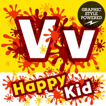 impulsive: Vector set of funny children splash alphabet. Letter V
