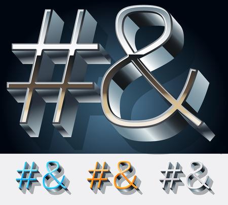 Vector set of futuristic metal silver alphabet. Symbols Illustration