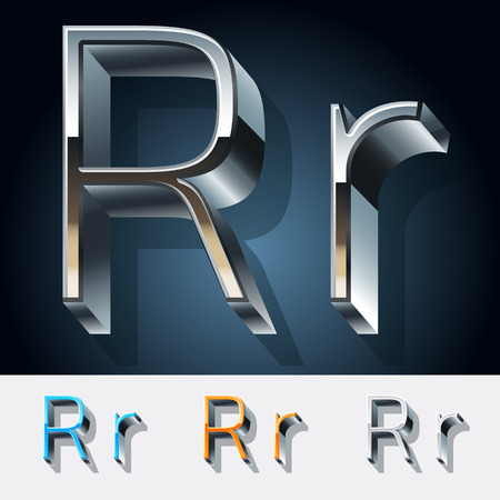 Vector set of futuristic metal silver alphabet. Letter R