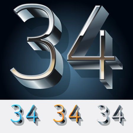 Vector set of futuristic metal silver alphabet. Numbers 3 4