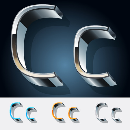 stainless: Vector set of futuristic metal silver alphabet. Letter C