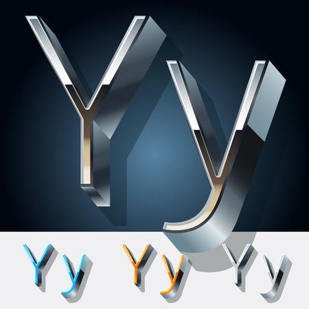 Vector set of futuristic metal silver alphabet. Letter Y