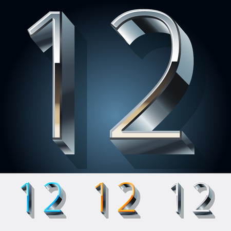Vector set of futuristic metal silver alphabet. Numbers  1  2