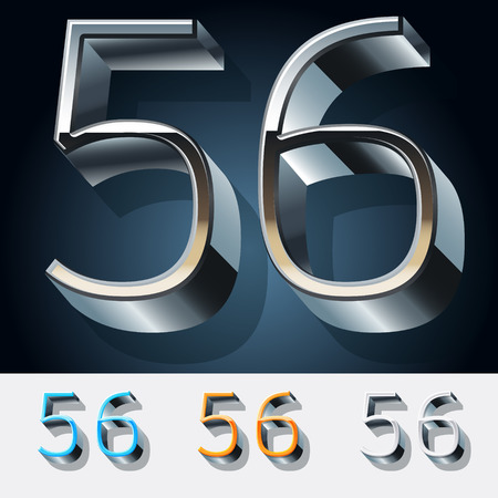 Vector set of futuristic metal silver alphabet. Numbers 5 6