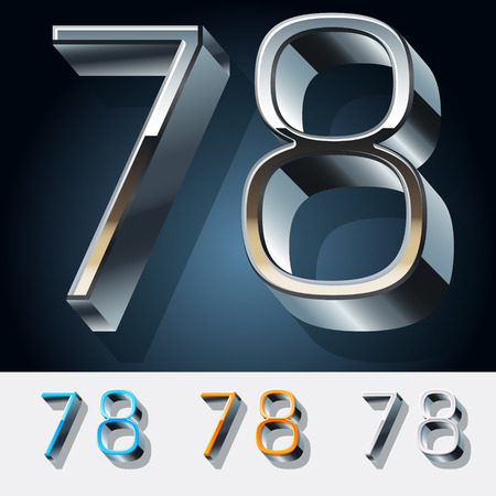 Vector set of futuristic metal silver alphabet. Numbers 7 8 Illustration