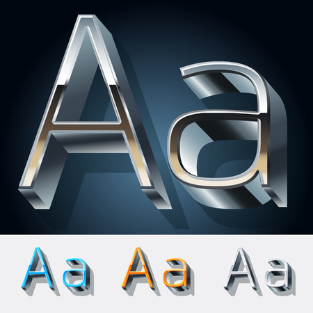 Vector set of futuristic metal silver alphabet. Letter A