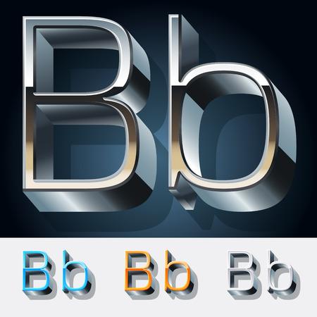 Vector set of futuristic metal silver alphabet. Letter B