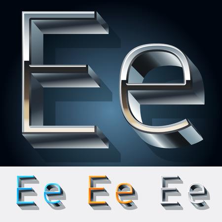 Vector set of futuristic metal silver alphabet. Letter E