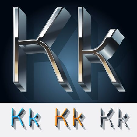Vector set of futuristic metal silver alphabet. Letter K