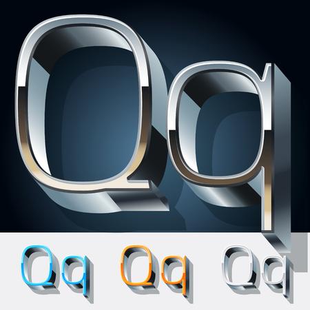 typeface: Vector set of futuristic metal silver alphabet. Letter Q Illustration