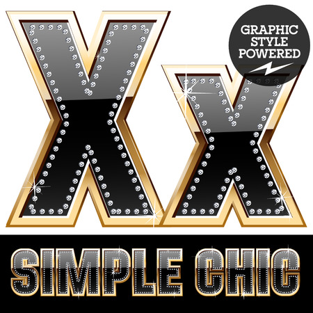 affluence: Vector set of chic black font with diamonds and gold border. Letter X