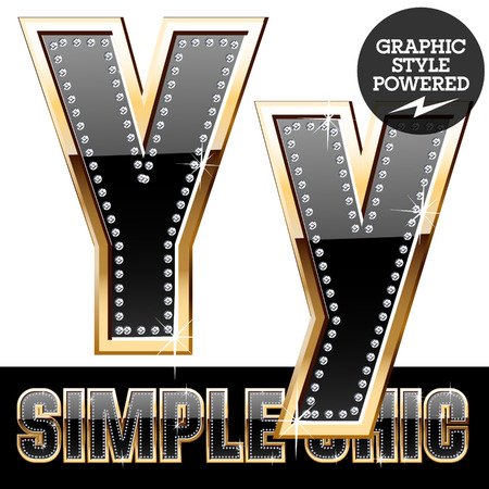 affluence: Vector set of chic black font with diamonds and gold border. Letter Y