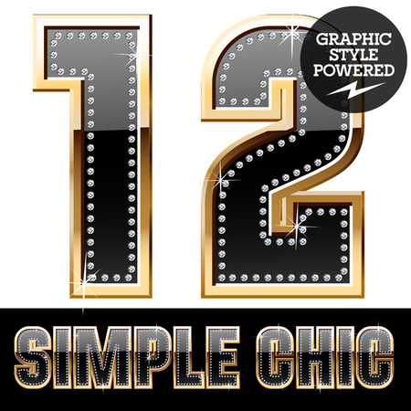 Vector set of chic black font with diamonds and gold border. Numbers 1 2