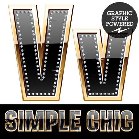 affluence: Vector set of chic black font with diamonds and gold border. Letter V Illustration