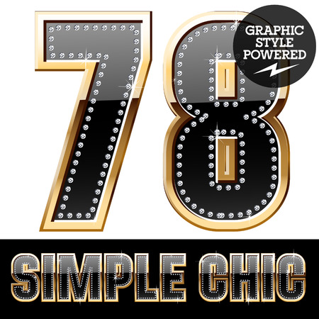 7 8: Vector set of chic black font with diamonds and gold border. Numbers 7 8 Illustration