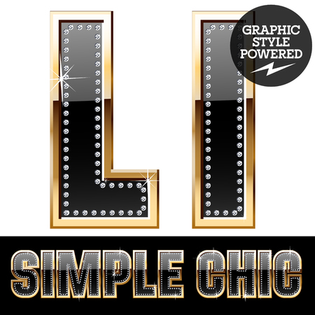 Vector set of chic black font with diamonds and gold border. Letter L