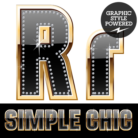 affluence: Vector set of chic black font with diamonds and gold border. Letter R