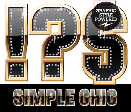 Vector set of chic black font with diamonds and gold border. Symbols Illustration