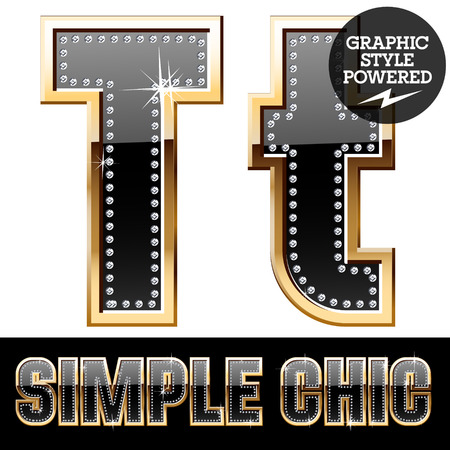 affluence: Vector set of chic black font with diamonds and gold border. Letter T