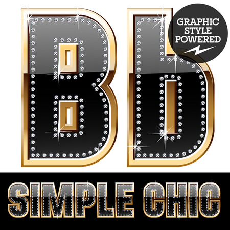 affluence: Vector set of chic black font with diamonds and gold border. Letter B Illustration