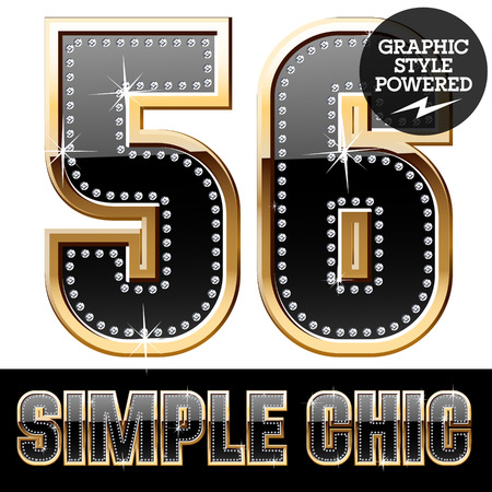 affluence: Vector set of chic black font with diamonds and gold border. Numbers 5 6 Illustration