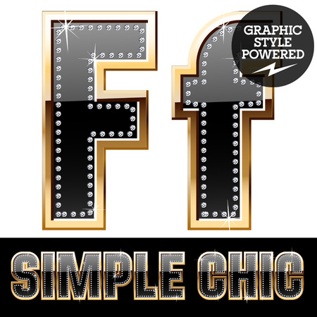 affluence: Vector set of chic black font with diamonds and gold border. Letter F Illustration