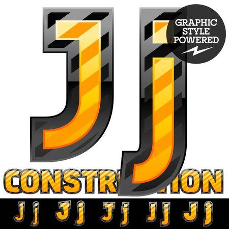 Vector set of striped orange and yellow alphabet in black border. Warning of danger style. Letter J Ilustração