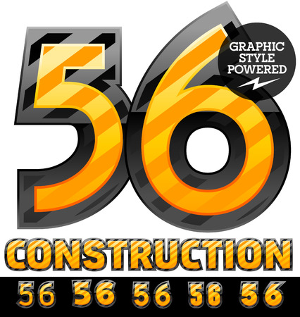 defensive: Vector set of striped orange and yellow alphabet in black border. Warning of danger style. Numbers 5 6 Illustration