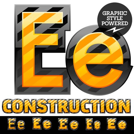 Vector set of striped orange and yellow alphabet in black border. Warning of danger style. Letter E