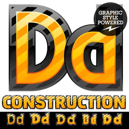 defensive: Vector set of striped orange and yellow alphabet in black border. Warning of danger style. Letter D Illustration