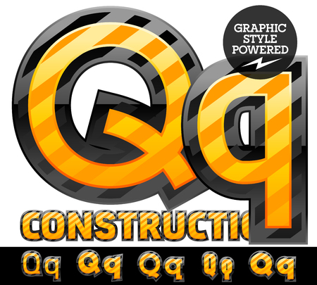 Vector set of striped orange and yellow alphabet in black border. Warning of danger style. Letter Q Ilustração