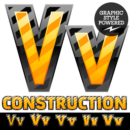Vector set of striped orange and yellow alphabet in black border. Warning of danger style. Letter V Banco de Imagens - 40645999