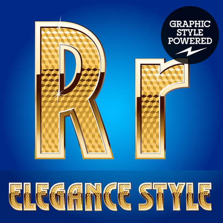 golden font: Vector set of rich shining alphabet with golden border. Letter R