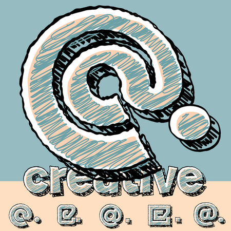 Funny sketch alphabet. Vector illustration of hand drawing font. Symbols Illustration