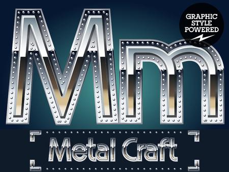 Vector set of metal aluminum alphabet with riveted border. Letter M Illustration
