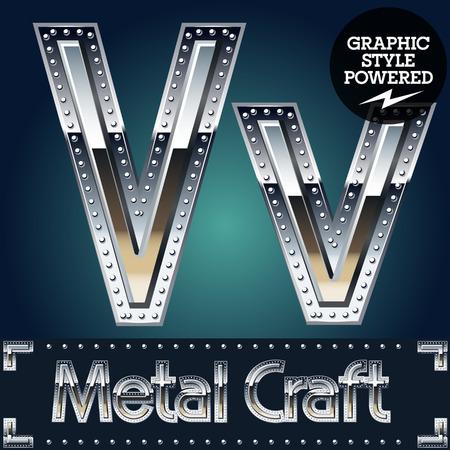 riveted metal: Vector set of metal aluminum alphabet with riveted border. Letter V Illustration