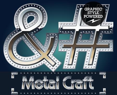 Vector set of metal aluminum alphabet with riveted border. Symbols Illustration
