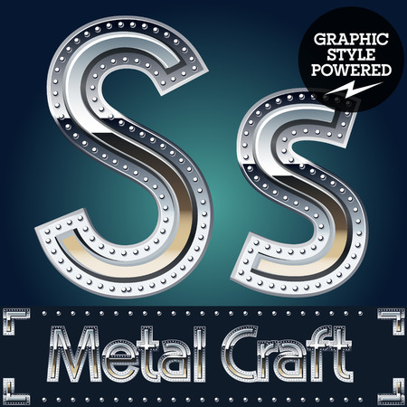riveted metal: Vector set of metal aluminum alphabet with riveted border. Letter S