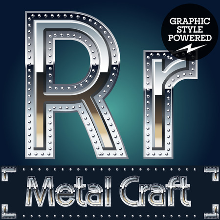 Vector set of metal aluminum alphabet with riveted border. Letter R Illustration
