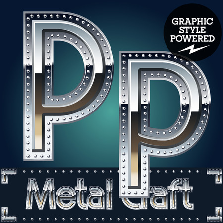 riveted metal: Vector set of metal aluminum alphabet with riveted border. Letter P