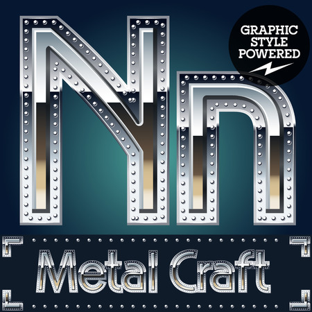 Vector set of metal aluminum alphabet with riveted border. Letter N