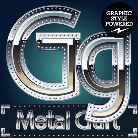 riveted: Vector set of metal aluminum alphabet with riveted border. Letter G