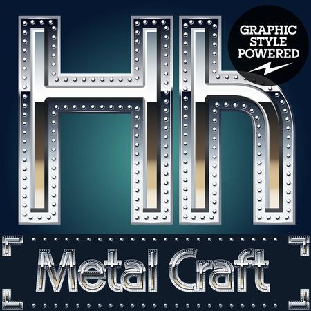 Vector set of metal aluminum alphabet with riveted border. Letter H Illustration